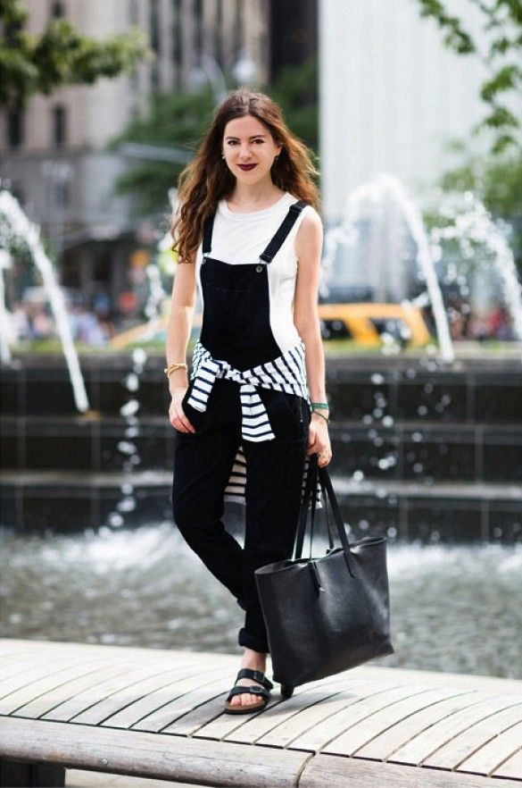 b2c0223ec50 Tie a sweater around your waist for a total  90s look    overalls + muscle  tee + wide sandals