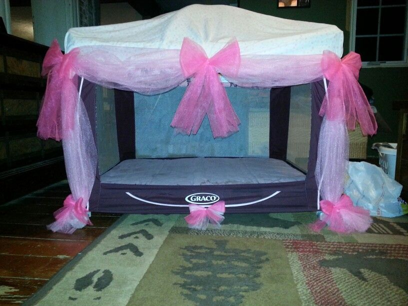 My daughter's old Pack N Play I repurposed into a princess ...