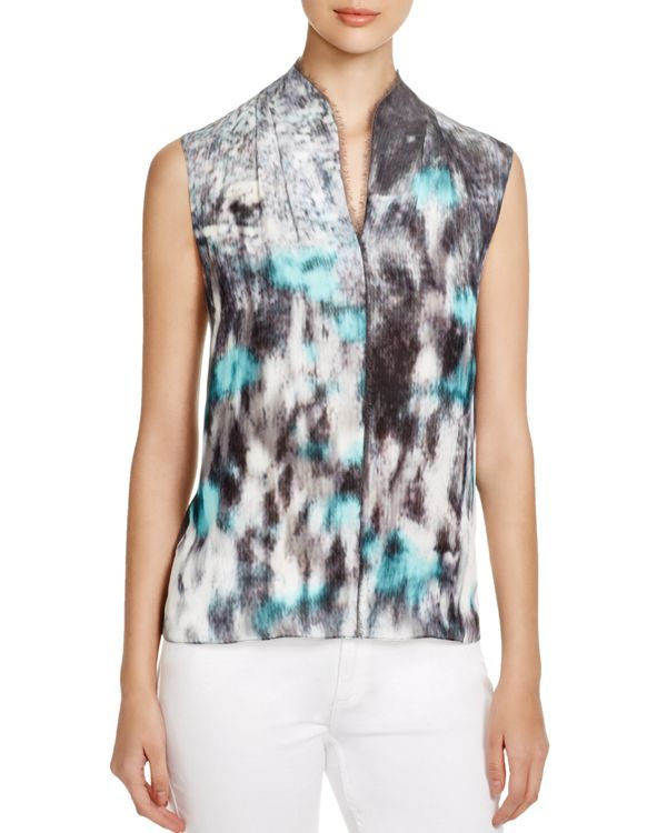 08114c860a0384 Elie Tahari Judith Abstract Print Blouse | Products | Sleeveless ...