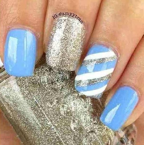 Blue Silver And White Nails - Nail Art