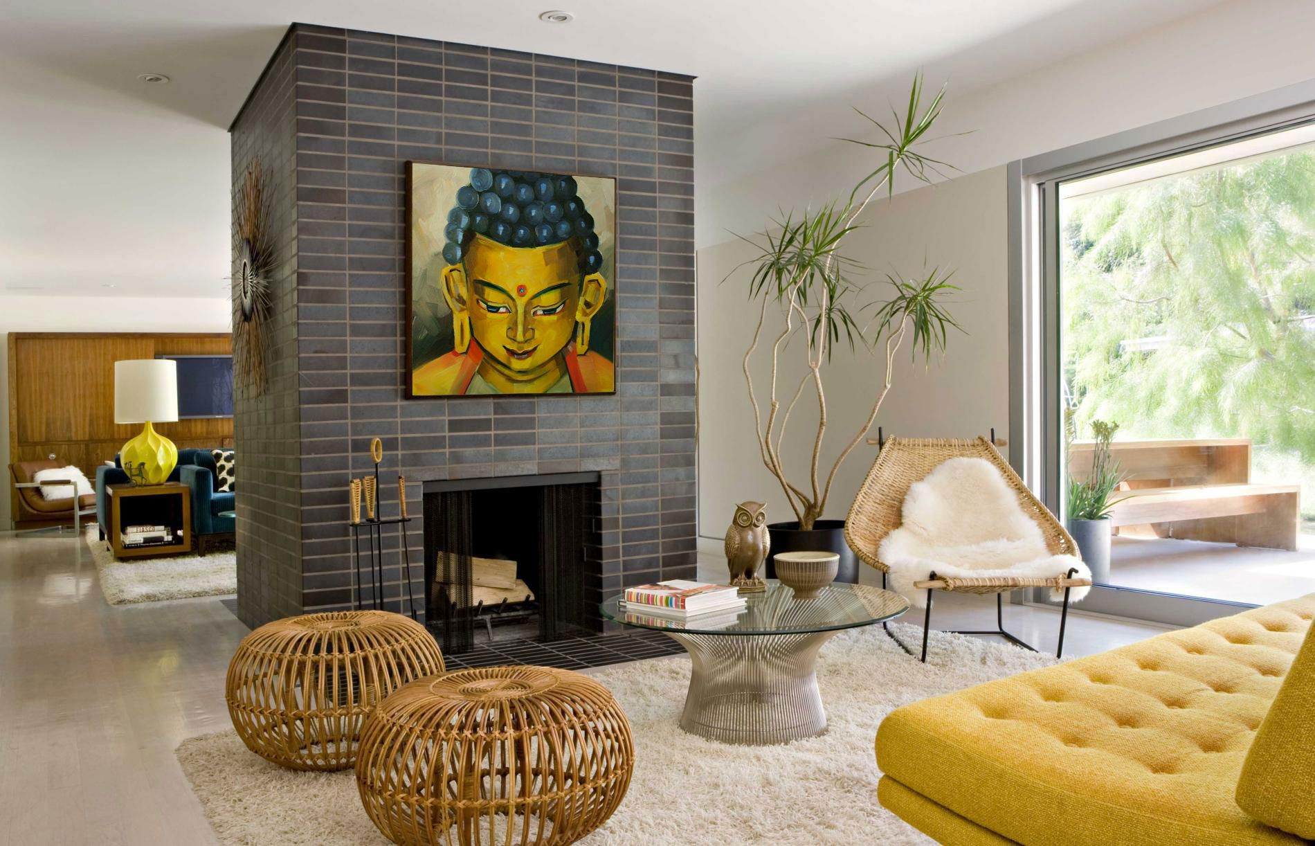 http://amritaart.com/art-gallery/categories/buddha-oil-paintings/ | Mid  century modern living room, Mid century modern interior design, Mid century  modern living