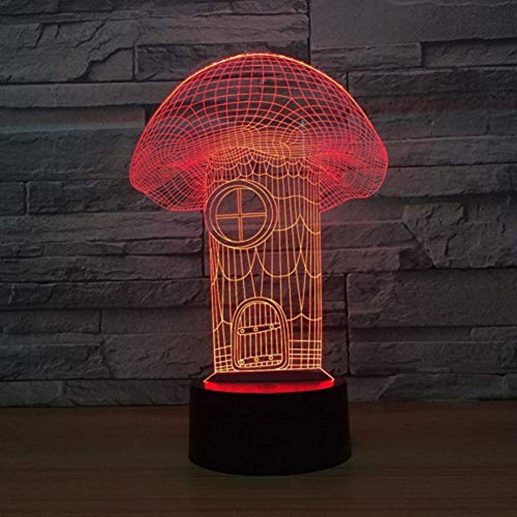 TKWNB Buntes Nachtlicht Pilz Haus visuelle 3D Lampe Leuchten