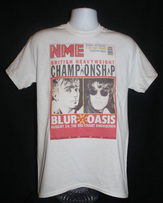 077064a3 brand new * oasis vs blur nme t-shirt indie 90s vintage britpop noel  gallagher damon albarn * Available in Small, Medium, Large or XL.