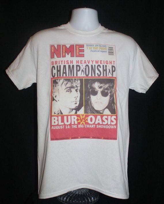 brand new oasis vs blur nme t shirt indie 90s vintage britpop noel gallagher damon albarn. Black Bedroom Furniture Sets. Home Design Ideas