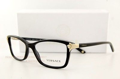 a71b0d5c26f3 Brand New VERSACE Eyeglasses Frames 3156 GB1 BLACK for Women 100% Authentic