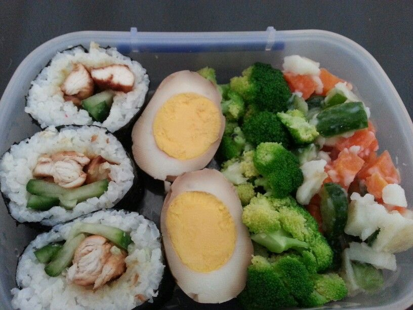 Simple adult lunch: teryaki chicken and cucumber sushi,  soy sauce eggs, brocoli and potato salad