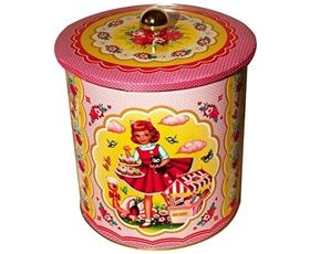 WU AND WU COTTON CANDY BISCUIT COOKIE TIN STORAGE
