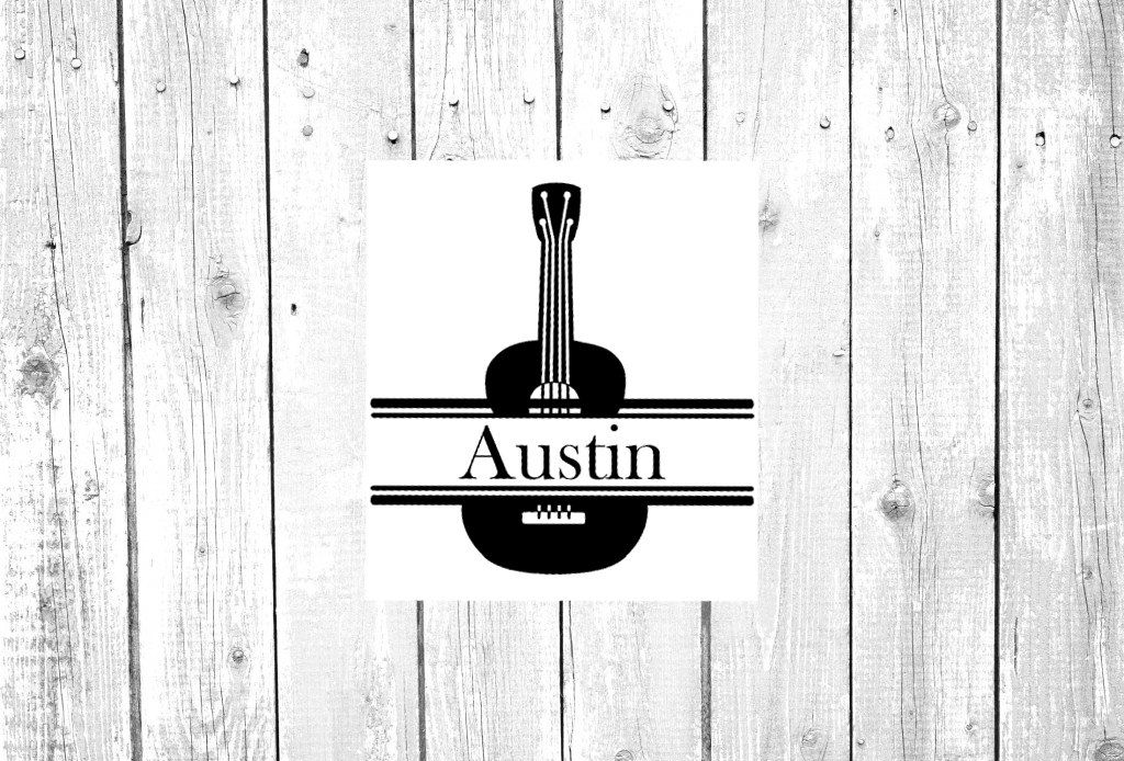 Monogram Vinyl Decal Personalized Custom Sticker Guitar - Guitar custom vinyl stickers