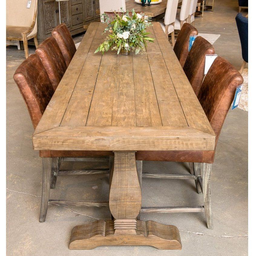 Farmhouse Reclaimed Wood Double Trestle Counter Table 118