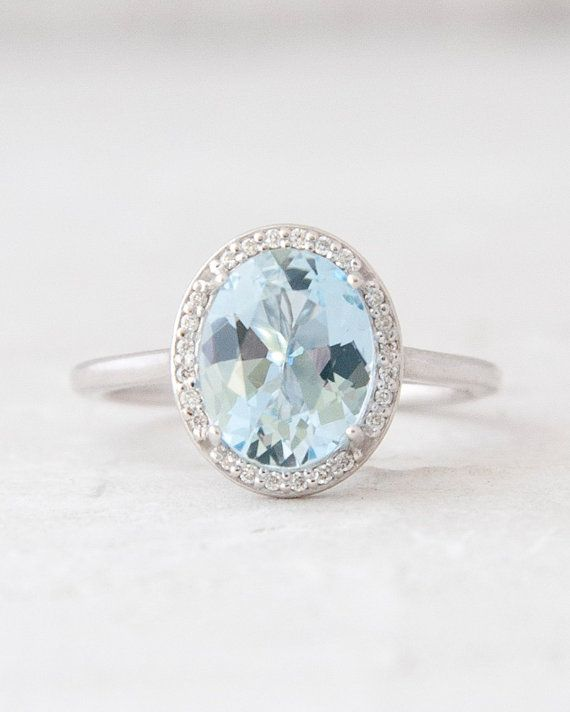 Large Oval Aquamarine and Diamond Halo Diamond Halo Anniversary Ring Engagement Ring 14K White Yellow Rose Gold Jewelry