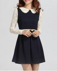Elegant Peter Pan Collar Color Block Lace Embellished Long Sleeve Women's Dress