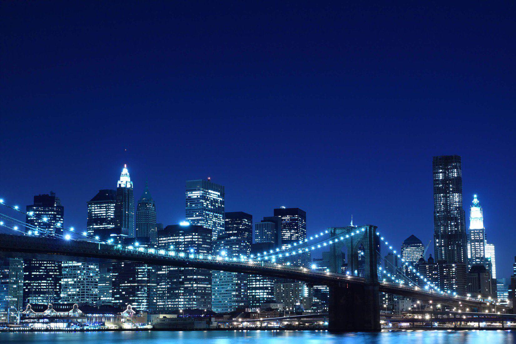 Blue Night Brooklyn Bridge Wallpaper Mural in 2020