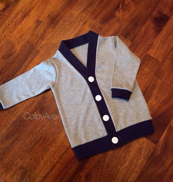 Gray and Navy Cardigan, Baby Cardigan, Toddler Cardigan, Children's Sweater, Grey Infant Cardigan