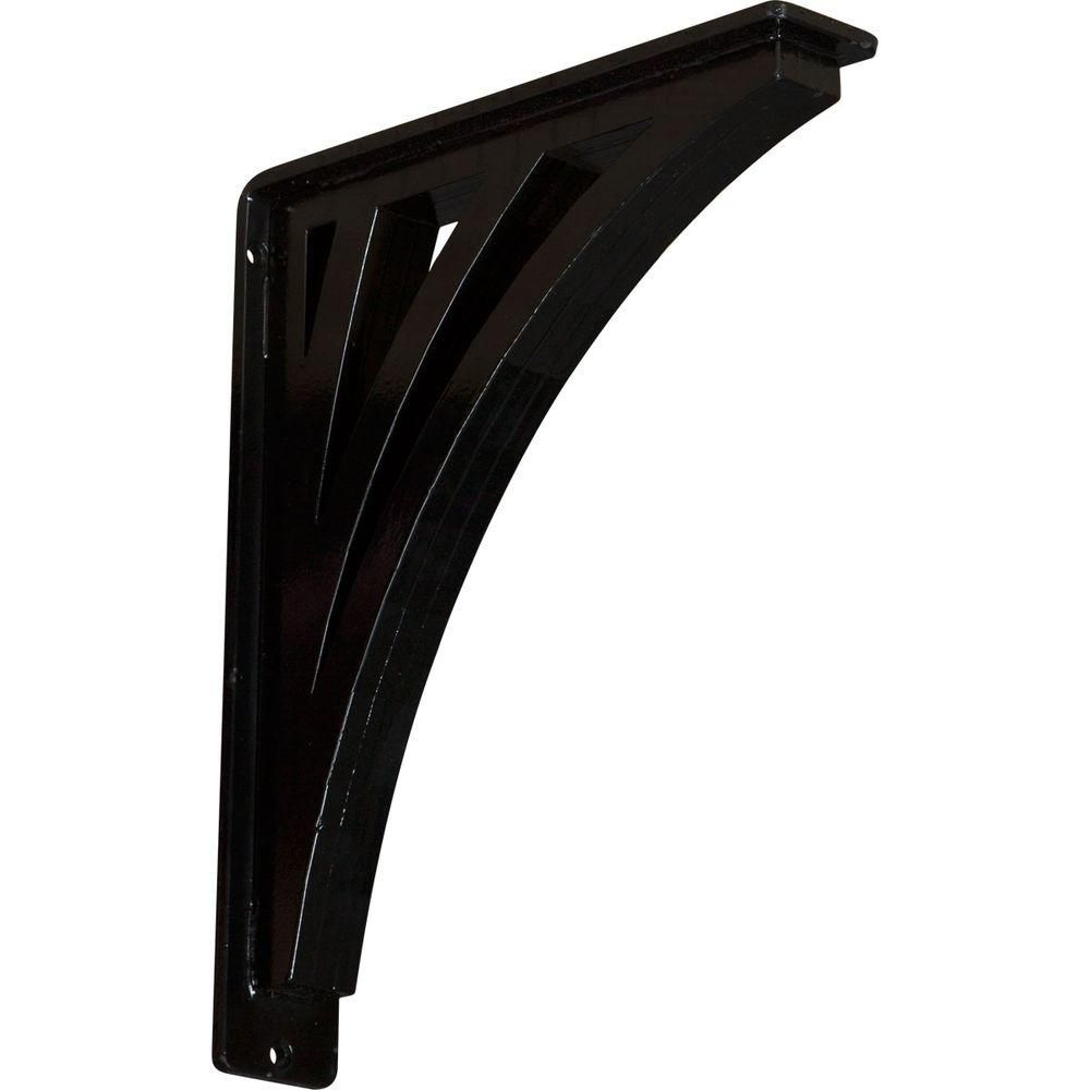 Ekena Millwork 2 in. x 12 in. x 10 in. Wrought Iron Triple Center Brace Nevio Bracket, Powder Coated Black