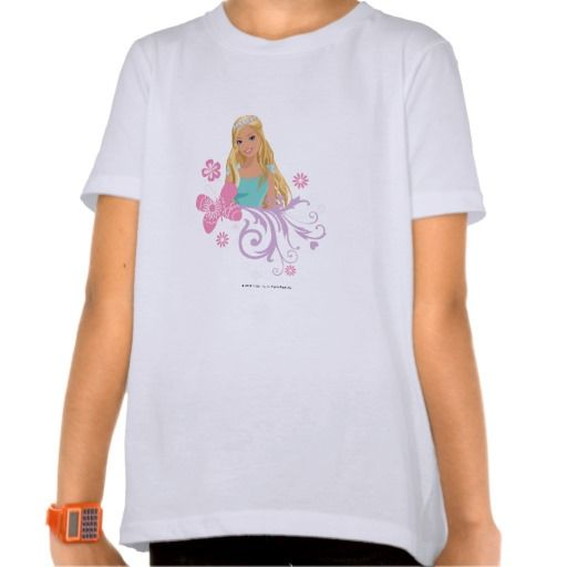 Barbie in Tiara with Butterfly and Swirls Tshirt