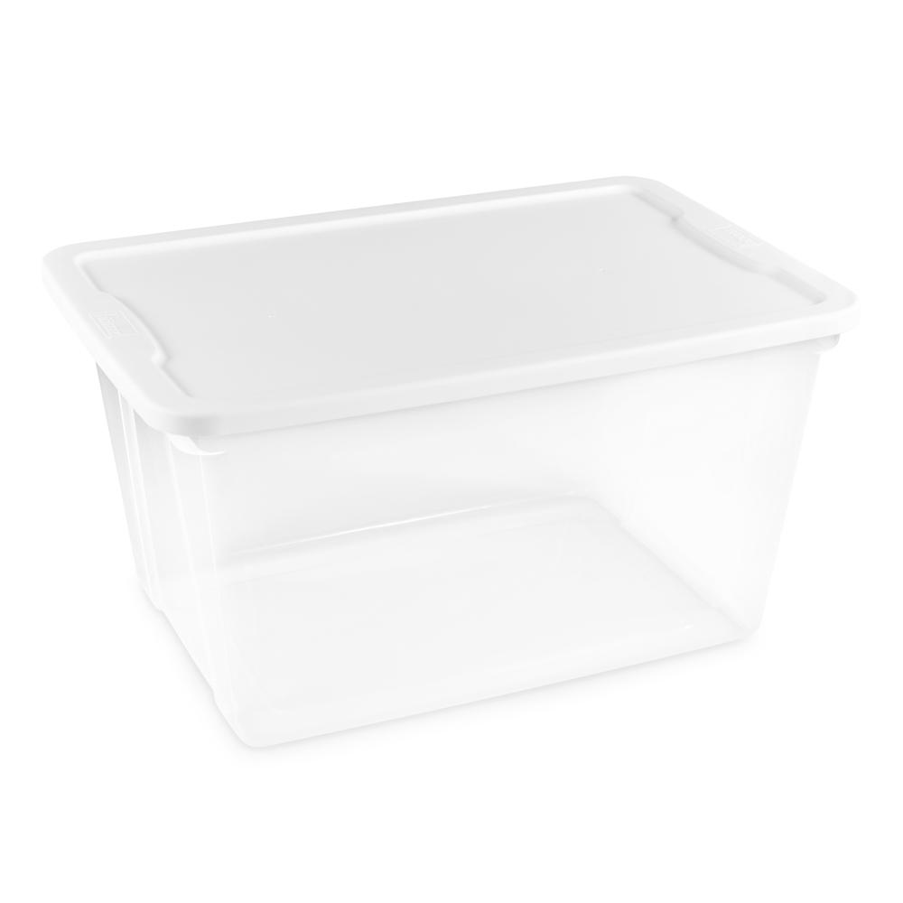 Homz 56 Qt Clear Storage Box 8 Pack 3256clwhec 08 Plastic Storage Totes Plastic Box Storage Storage