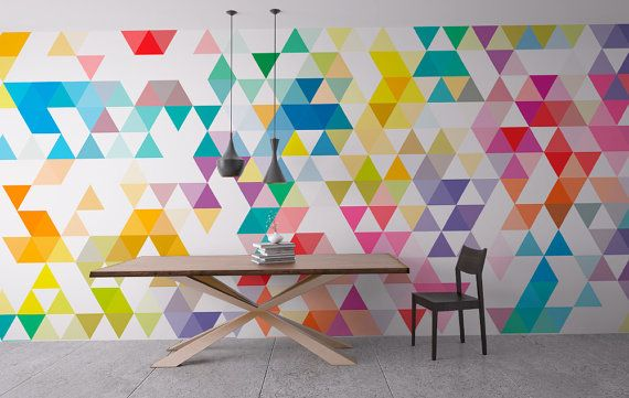 Wall Mural Mid Century Triangles Repositionable Adhesive