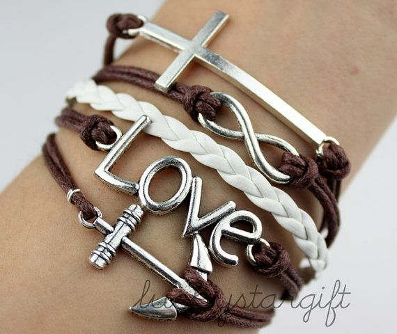 Infinity anchor love bracelet silver cross bracelet brown rope white leather bracelet fashion bracelets-Q034 by luckystargift, $5.59