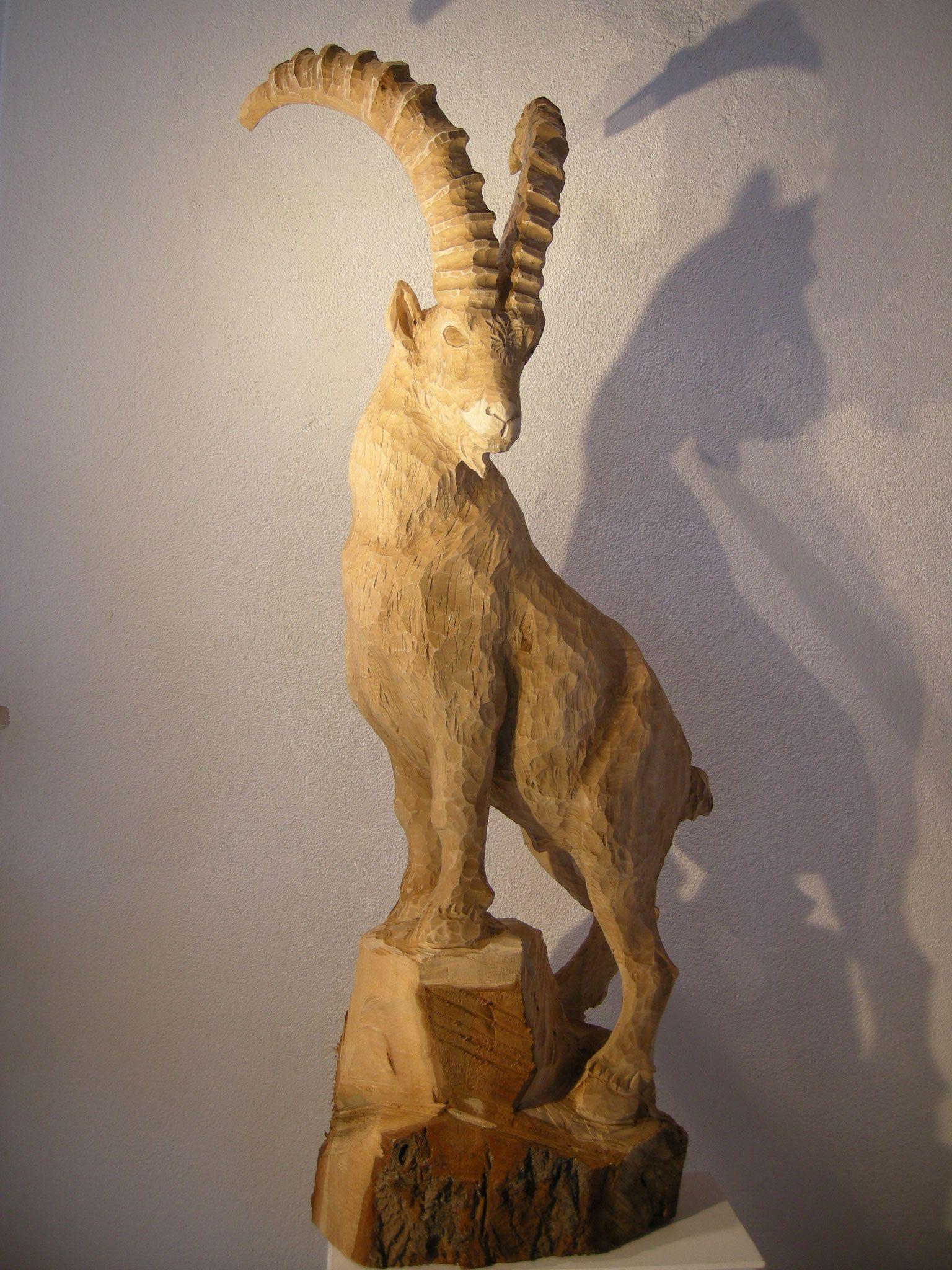 steinbock skulptur   schnitzen mit kettensäge   pinterest