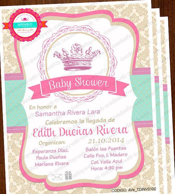 princess invitation  baby shower princess invitation
