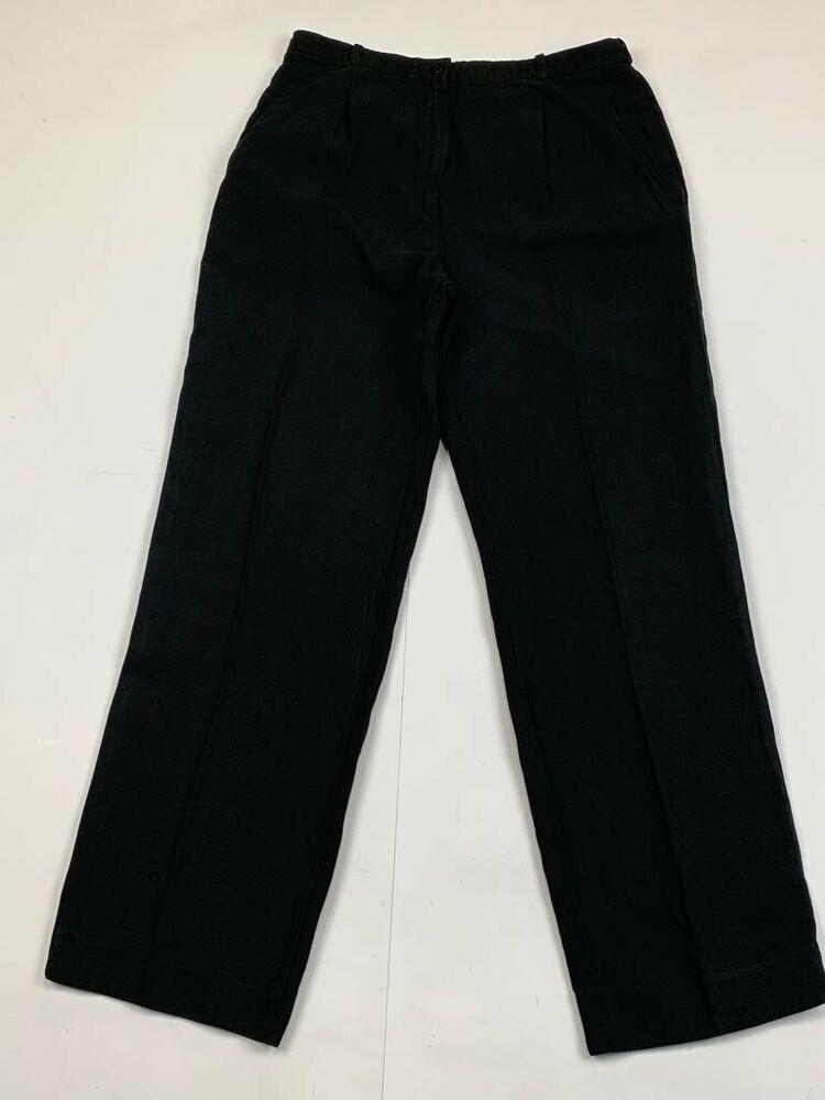 1c4bcb16da GIORGIO ARMANI Size 10 (48 Italy) Wide Leg Black Linen Cotton ...