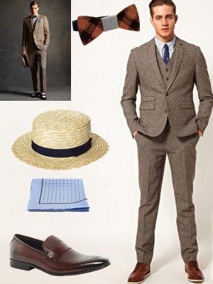 Favori Costume 3 pièces et noeud papillon en bois style Gatsby … | Pinteres… HD06