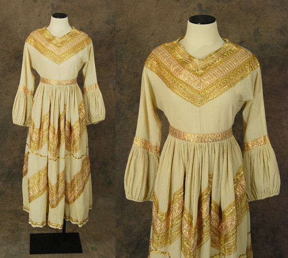 vintage 60s Western Dress  1960s Biege Cotton Gauze by jessamity