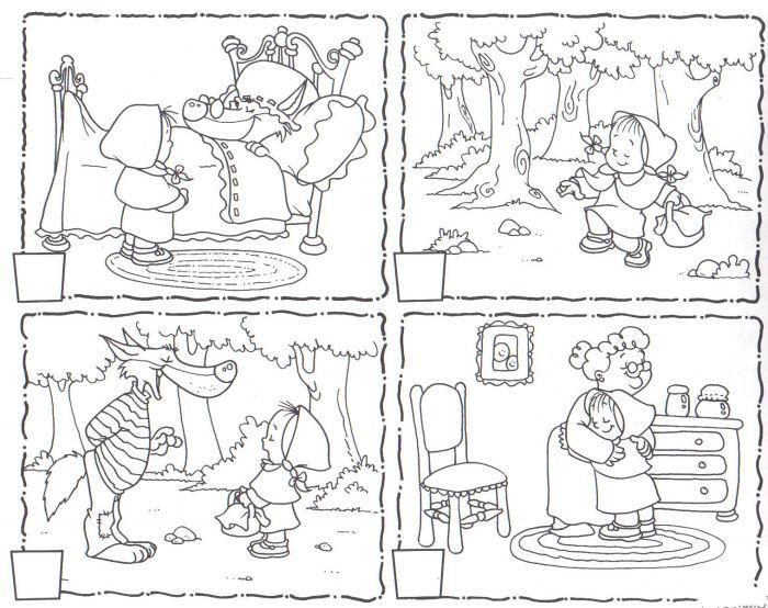 Sequencies Caputxeta 4 Secuencias De Imagenes Caperucita Roja Dibujo Cuento De Caperucita