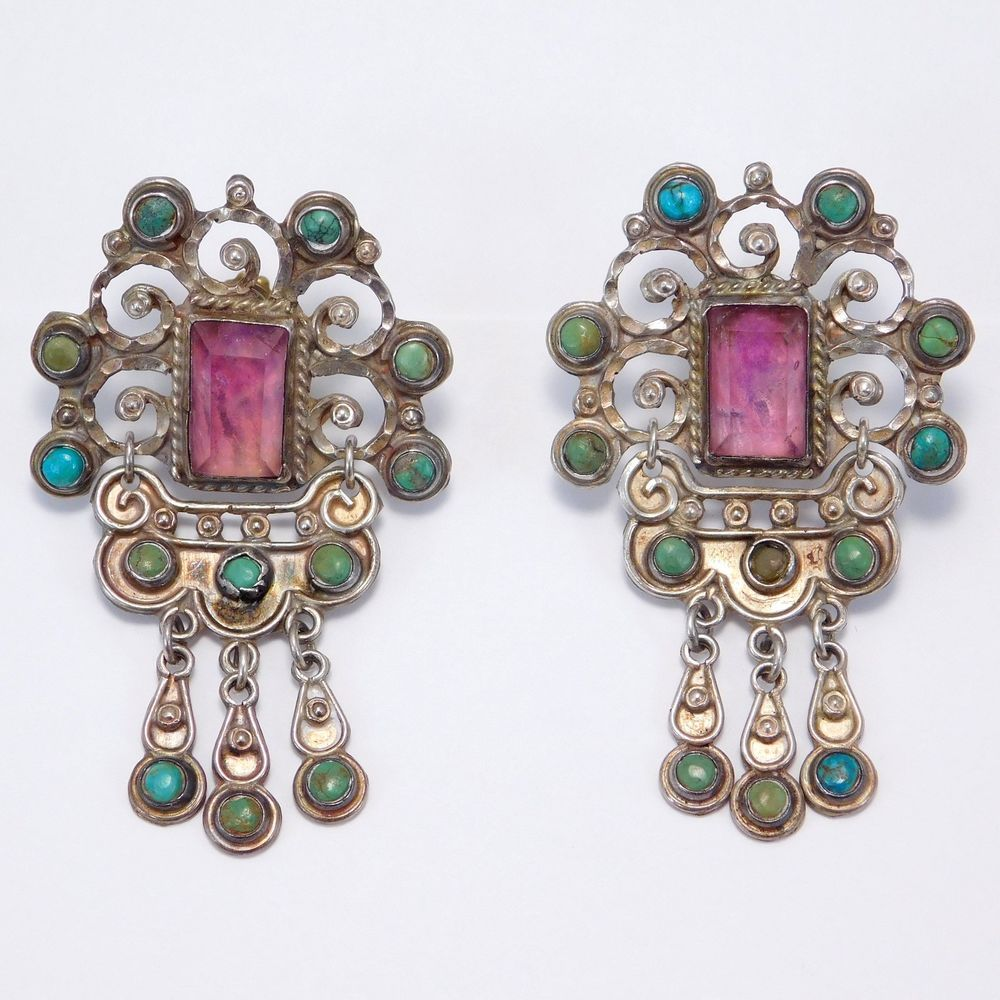 Ornate Matl Amethyst Turquoise Silver Mexican Earrings