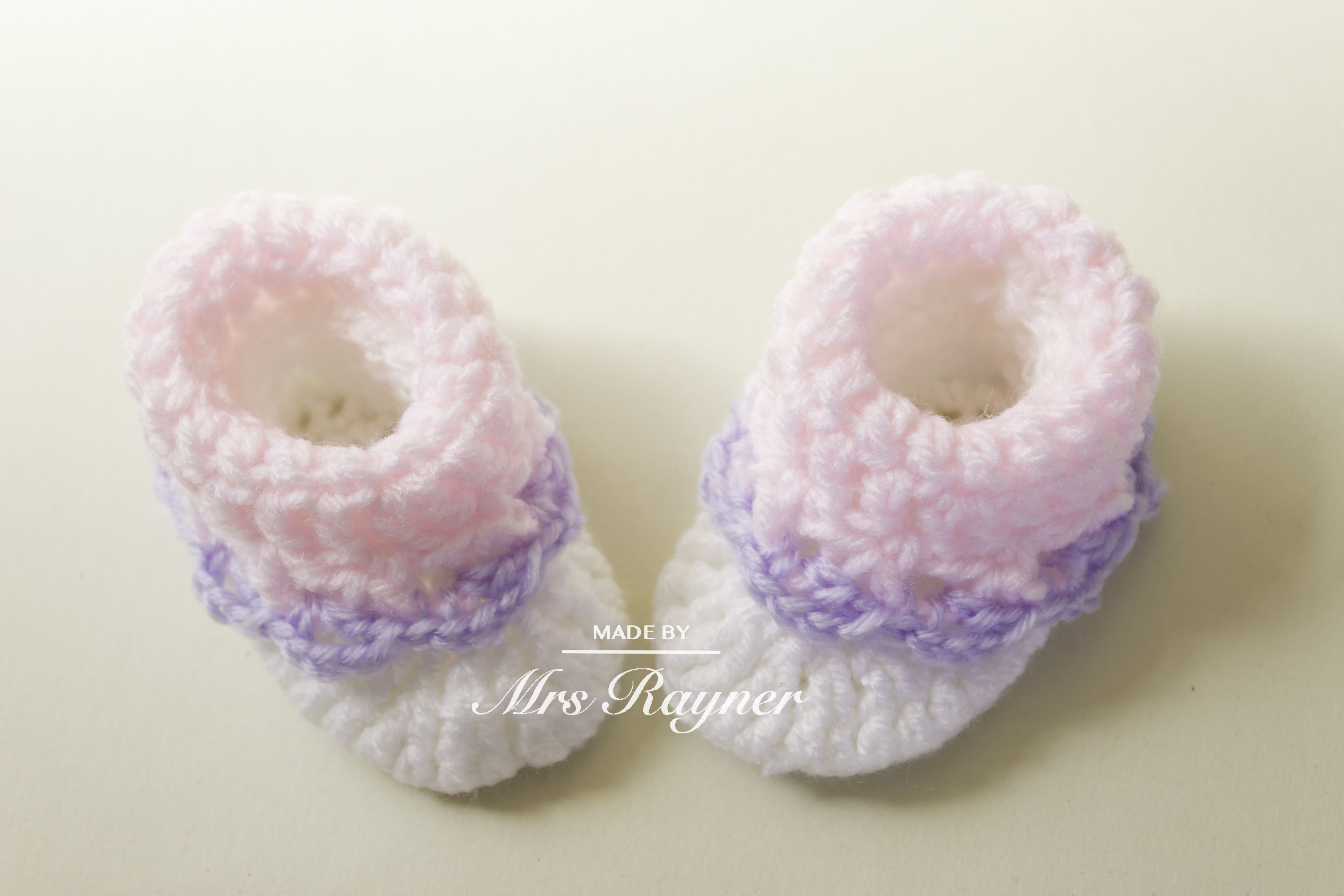 Crochet baby booties handmade baby shoes unique white pink