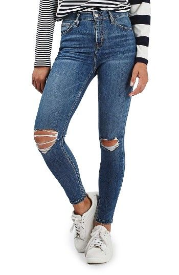 fa66c7b963aba Free shipping and returns on Topshop Moto Jamie Ripped High Rise Ankle  Skinny Jeans at Nordstrom.com. Threadbare holes at the knees toughen  weekend-ready ...