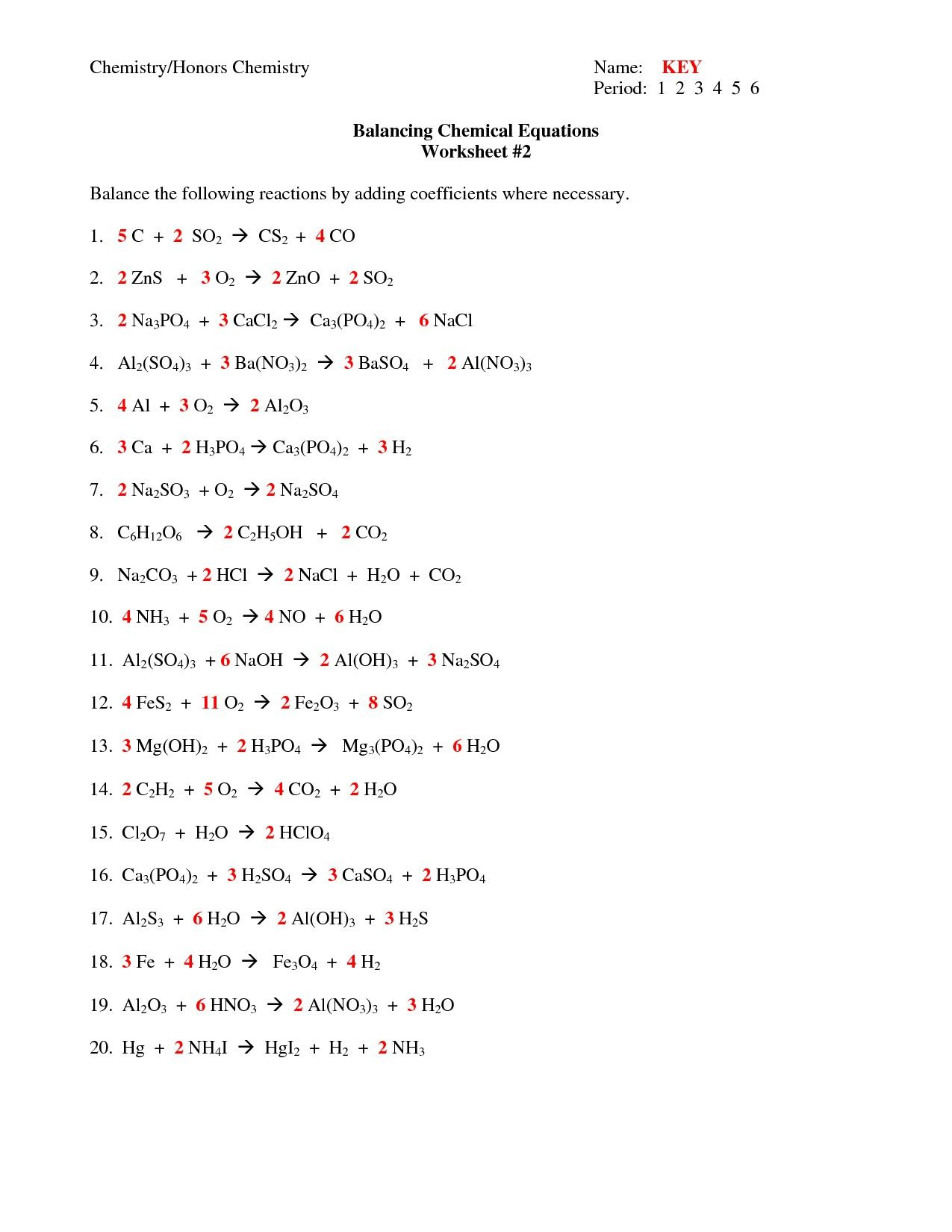 33 Clever Balancing Chemical Equations Worksheet Design With