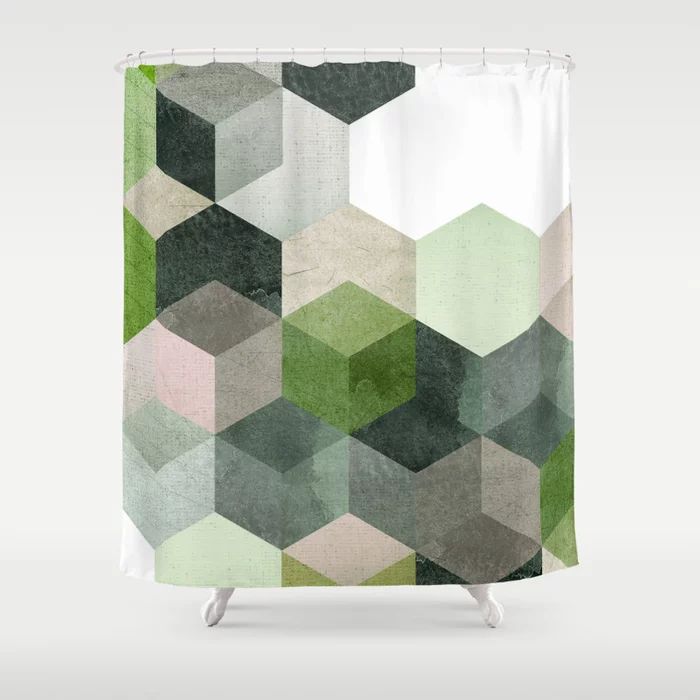 Modern Green Hexagon Art 6 Shower Curtain By Dreamprintdesigns