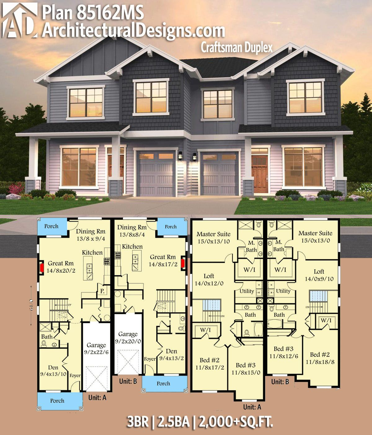 Condos For Rent With Garage: Plan 85162MS: Craftsman Duplex In 2019