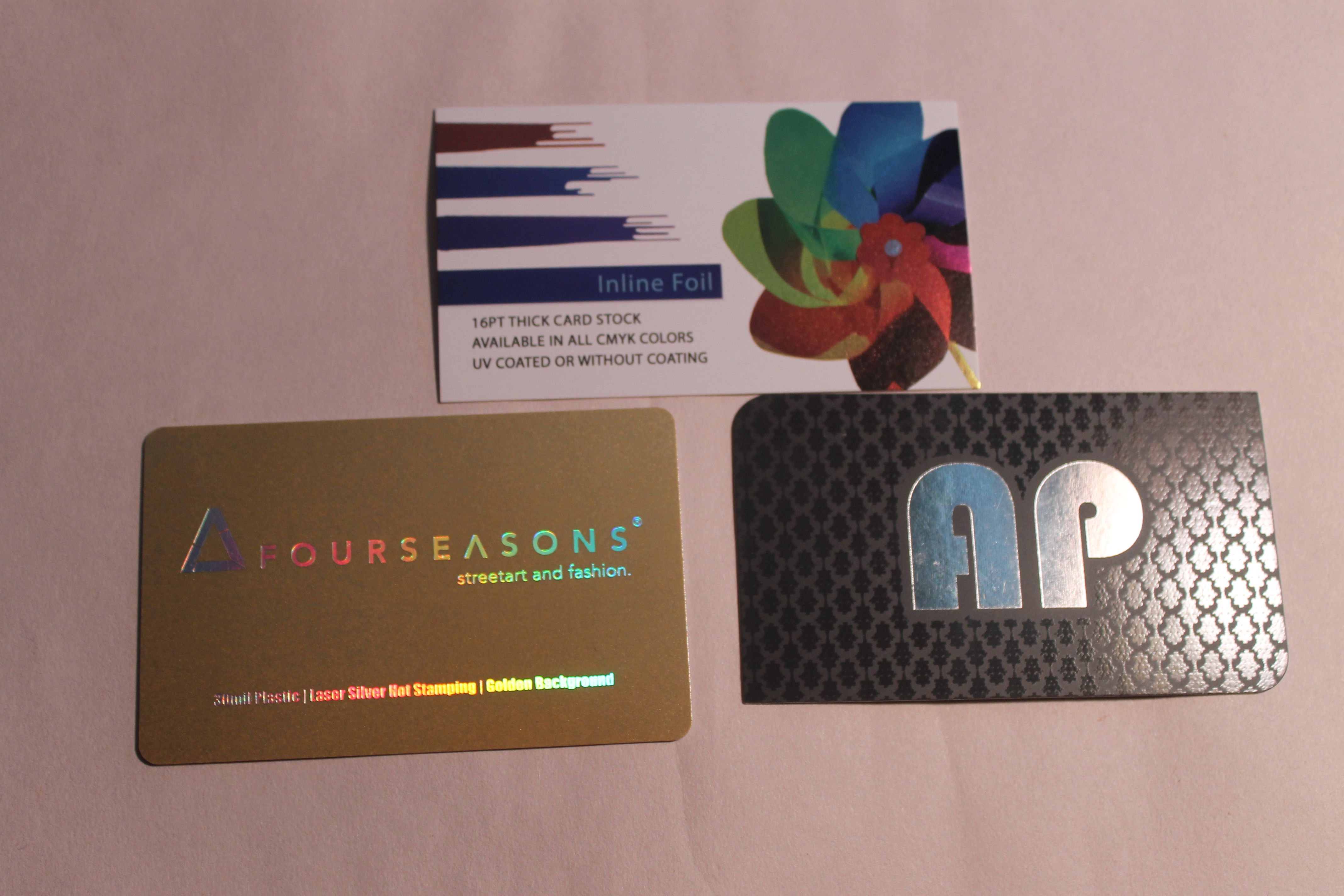 3 Different Paper Stocks With Foil Stamping 1 16 Pt Thick Card With Uv Coating 2 30 Mil Plastic Las Foil Business Cards Custom Business Cards Foil Stamping