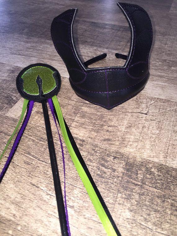 Evil Queen Dragon Horn Black Headpiece & Sceptor by AshAlyDesigns