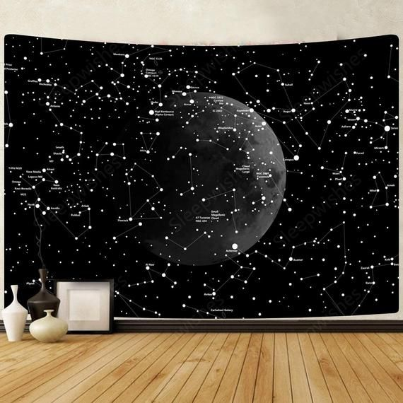 Moon Constellations Tapestry Wall Hanging Space Astrology Etsy In 2020 Constellation Tapestry Dorm Wall Decor Tapestry Wall Hanging