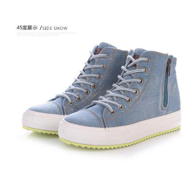 Hidden Wedge Denim Sneakers (2,265 INR) ❤ liked on Polyvore featuring shoes, sneakers, hidden wedge shoes, hidden heel sneakers, red shoes, hidden wedge sneakers and hidden wedge heel sneakers
