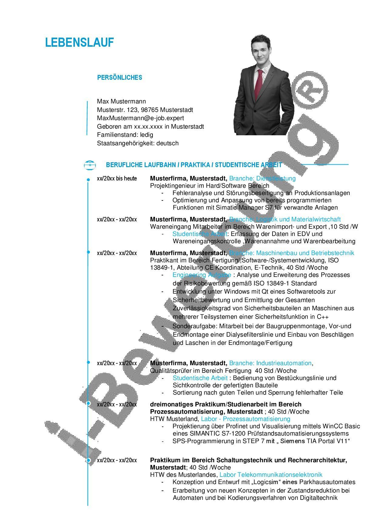 Vorlagen und Muster für den Lebenslauf zur Initiativbewerbung ...