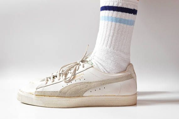 In Whiteamp; Vintage Puma Gray Basket Made Leather Yugoslavia Sneakers 6Ygybfv7