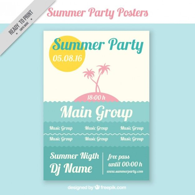 Summer party poster template Free Vector Graphic Design - free poster template word