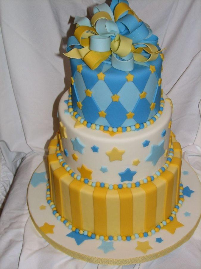Blue Yellow Cake Ribbon Baby Shower Cake Cupcake Ideas Cake