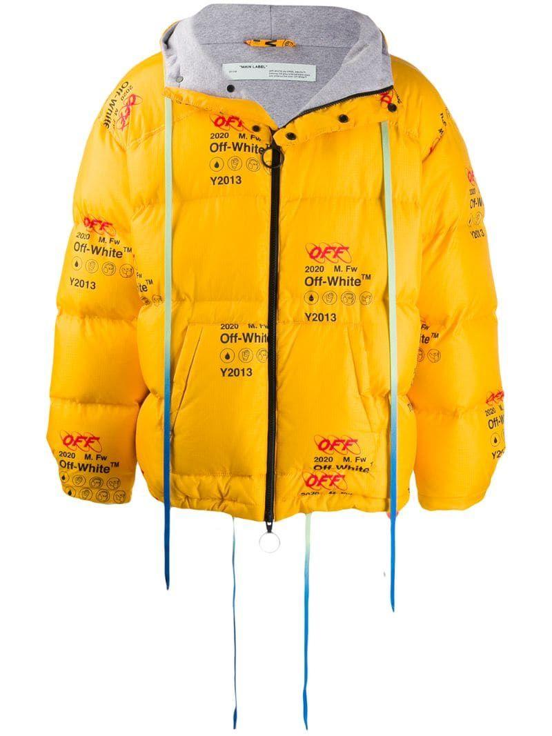 Off White Printed Logo Puffer Jacket Farfetch Mens Outdoor Jackets Off White Jacket Jackets [ 1067 x 800 Pixel ]