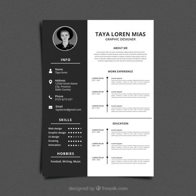 download black and white resume template for free