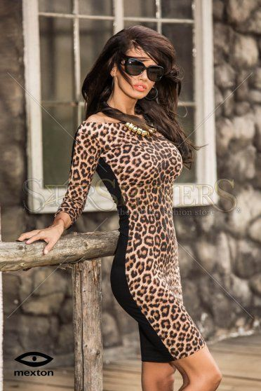 Mexton Glamorous Diva Brown Dress
