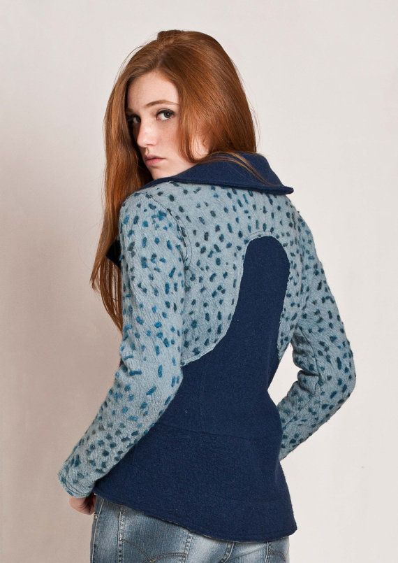 Blue fitted jacket wool felted and hand embroidered by texturable, $230.00
