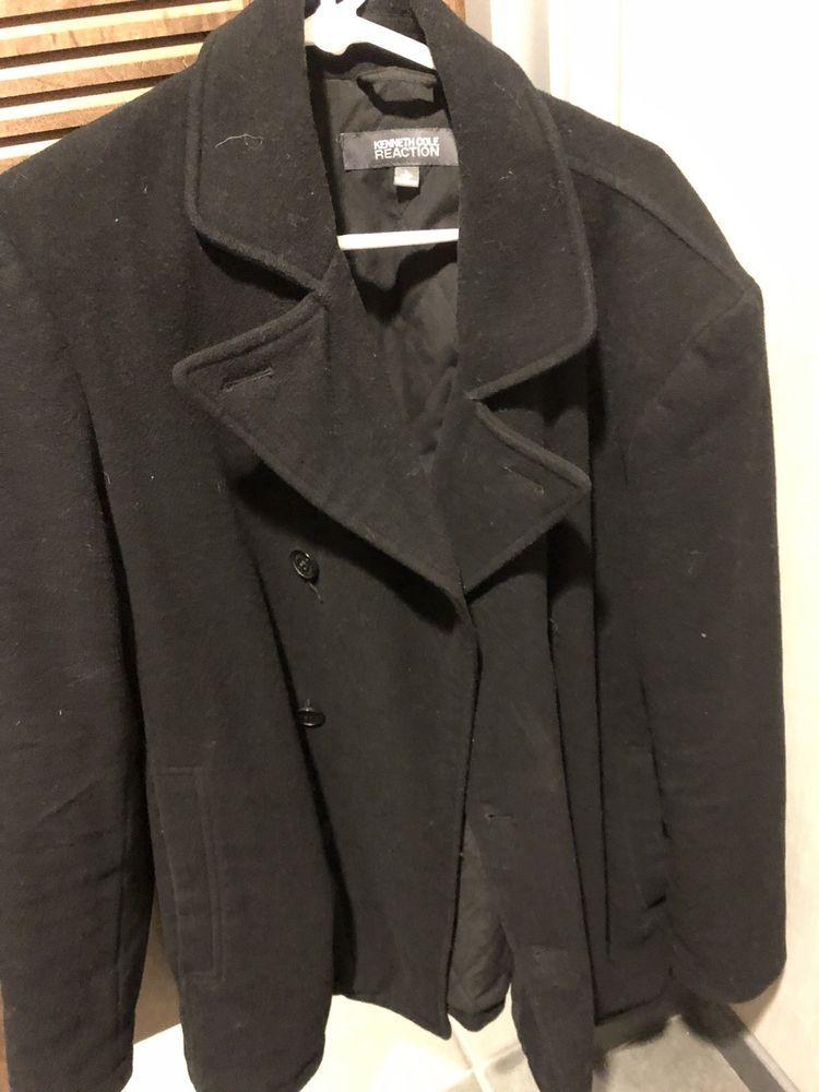 7574fef7997 Kenneth Cole Reaction Mens Black Wool Jacket Walker Peacoat Coat Size L   fashion  clothing