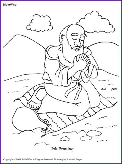 Coloring Job Praying Kids Korner Biblewise Sunday School