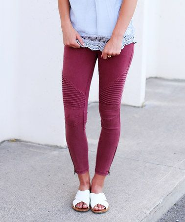Another great find on #zulily! Burgundy Texture-Front Zip-Leg Leggings #zulilyfinds