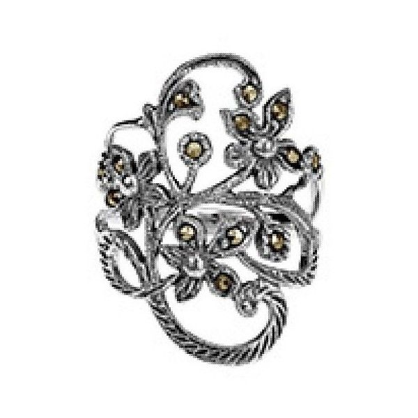 AeraVida Beautiful Marcasite Flower Vine Sterling Silver Ring ($33) ❤ liked on Polyvore featuring jewelry, rings, no color, sterling silver rings, sterling silver vine ring, sterling silver marcasite ring, thick band rings and vine ring